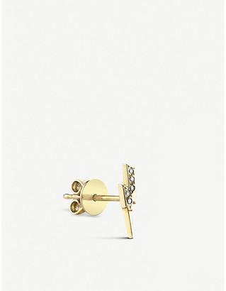 THE ALKEMISTRY Sydney Evan Lightning bolt 14ct yellow-gold and diamond stud earring