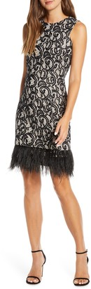 Donna Ricco Allover Lace Feather Hem Sleeveless Cocktail Dress