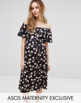 Asos Off Shoulder Midi Dress in Floral