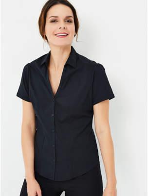 George Black Short Sleeve V-Neck Formal Shirt