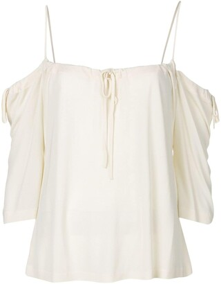 Yohji Yamamoto Pre-Owned cold shoulders drawstring blouse