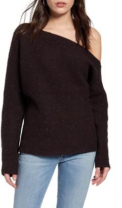 Treasure & Bond Ribbed One-Shoulder Pullover