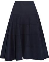 Victoria Beckham Herringbone Cashmere Skirt - Navy