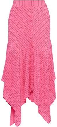 Ganni Lynch Asymmetric Striped Silk-blend Seersucker Midi Skirt
