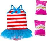 Jump N Splash Toddler Girls' Sweet Sailor One Piece Swimsuit w/ Free Floaties (2T3T) - 8143043