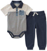 Calvin Klein 2-Pc. Striped Polo Bodysuit & Jogger Pants Set, Baby Boys