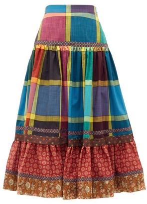 Gucci Madras-check Gathered A-line Cotton Midi Skirt - Blue Multi