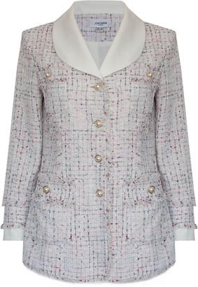 Jovonna London Cream Santiago Tweed Jacket - UK8 - Rose Gold/Natural/White