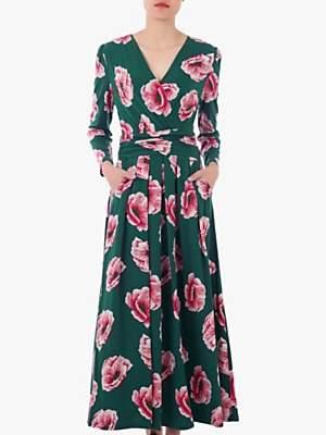 Jolie Moi Floral Print Cross Over Maxi Dress, Green/Multi