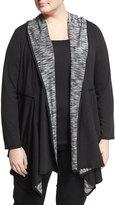 Max Studio Plus Soft Hooded Open Sweatshirt, Black, Plus Size