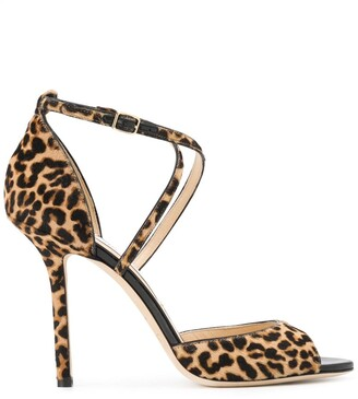 Jimmy Choo Emsy 100mm leopard-print sandals