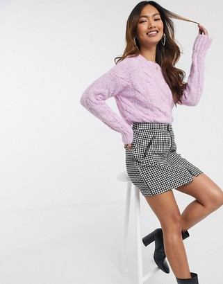 Miss Selfridge cable knit sweater in lilac
