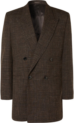 Martine Rose Double-Breasted Prince Of Wales Checked Virgin Wool And Linen-Blend Suit Jacket
