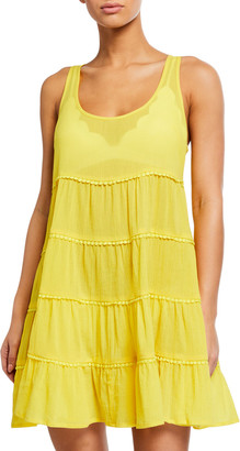 Kate Spade Tiered Lace-Trim Coverup Dress