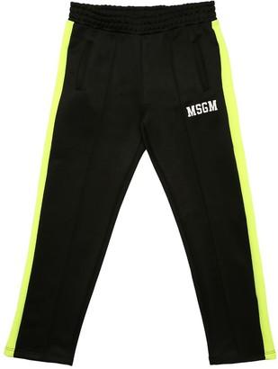 MSGM Logo & Side Band Cotton Blend Sweatpants