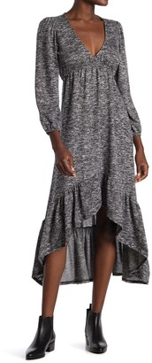Velvet Torch Heathered V-Neck Ruffled High/Low Sweater Dress