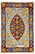 Modern Floral Design India Chain Stitch Accent Rug (2 x 3), 'Sunny Flowers'
