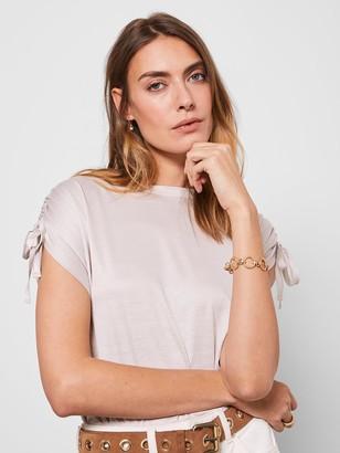Mint Velvet Tie Sleeve Utility T-Shirt - Neutral