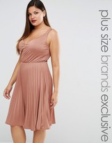 Truly You Plunge Pleated Midi Dress
