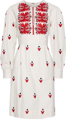 Antik Batik Mexi Embroidered Metallic Striped Cotton Dress