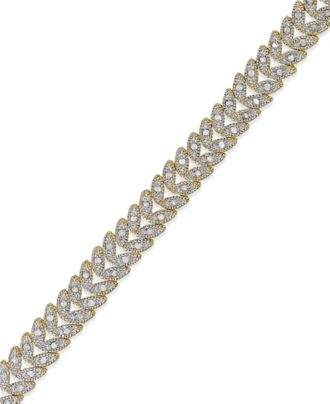 Townsend Victoria Rose-Cut Diamond Leaf Bracelet in Silver-Plated Brass or 18k Gold-Plated Brass (1 ct. t.w.)