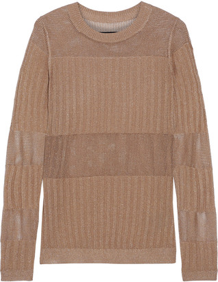 J Brand Andrea Metallic Ribbed And Open-knit Sweater