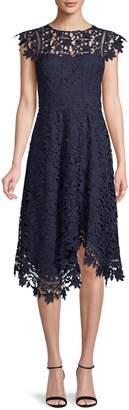 Eliza J Asymmetrical Fit--Flare Lace Dress