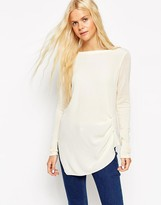 Asos Knitted Tunic Top With Woven Front