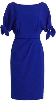 Teri Jon by Rickie Freeman Tie-Sleeve Dress