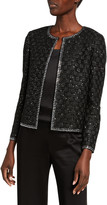 St. John Sequined Basket-Weave Evening Jacket