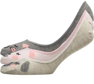 Lovestruck Womens Three Pack Cat & Dog Footsie Socks Grey Cat Dog