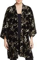 June & Hudson Metallic Floral-Embroidered Velvet Kimono