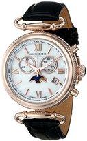 Akribos XXIV Women's AK754BKR Swiss Chronograph Quartz Movement Watch with White/White Mother of Pearl Dial and Black Leather Calfskin Strap
