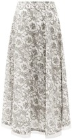 Le Sirenuse Le Sirenuse, Positano - Livia Valy Myers-print Cotton-voile Skirt - Womens - Black Print