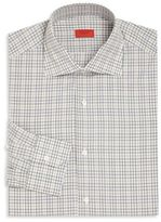 Isaia Grey & Tan Plaid Button-Up