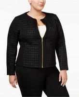Calvin Klein Plus Size Houndstooth Moto Jacket
