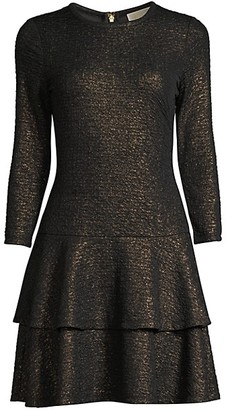 MICHAEL Michael Kors Shimmer Double Tier Flounce Dress