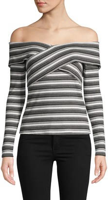 Red Haute Striped Off-The-Shoulder Top