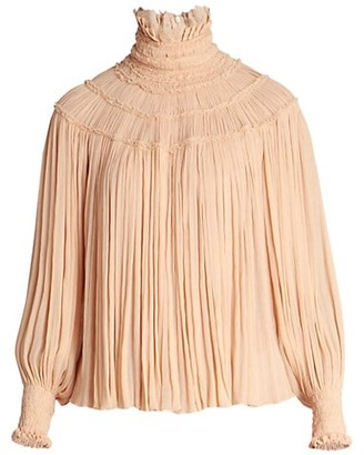 Chloé Light Silk Crepon Pleated Blouse