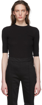 Rosetta Getty Black Cropped Sleeve T-Shirt