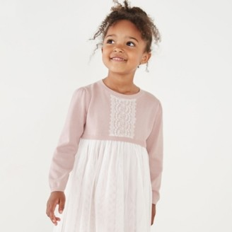 The White Company Knit & Tulle Dress (1-6yrs), Pink, 2-3yrs