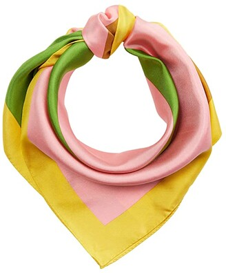Tory Burch Color-Block Logo Silk Square (Pink) Scarves