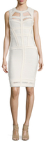 Herve Leger Gathered Trim Cut Out Sheath Dress