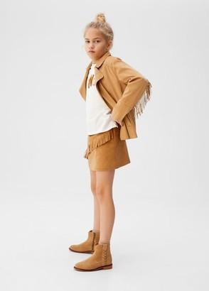 MANGO Fringe faux-suede jacket