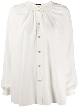Fay Silk Ruched Neckline Blouse