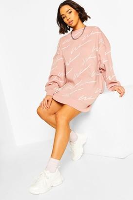 boohoo Woman All Over Print Oversized Sweat Dress