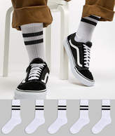 Asos Tube Style Socks In White With Stripes 5 Pack