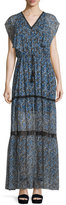 Elie Tahari Sanna Drawstring-Waist Tiered Maxi Dress