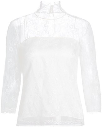 Adam Lippes Chantilly Lace Turtleneck Top