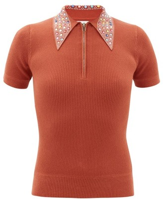 JoosTricot Crystal-collar Cotton-blend Peachskin Polo Shirt - Brown